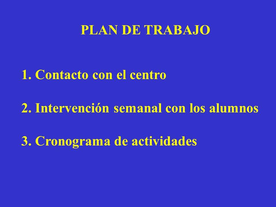 PLAN DE TRABAJO 1. Contacto con el centro. 2. Intervención semanal con los alumnos.