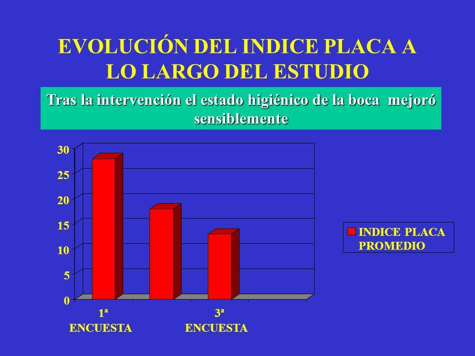 EVOLUCIÓN DEL INDICE PLACA A LO LARGO DEL ESTUDIO