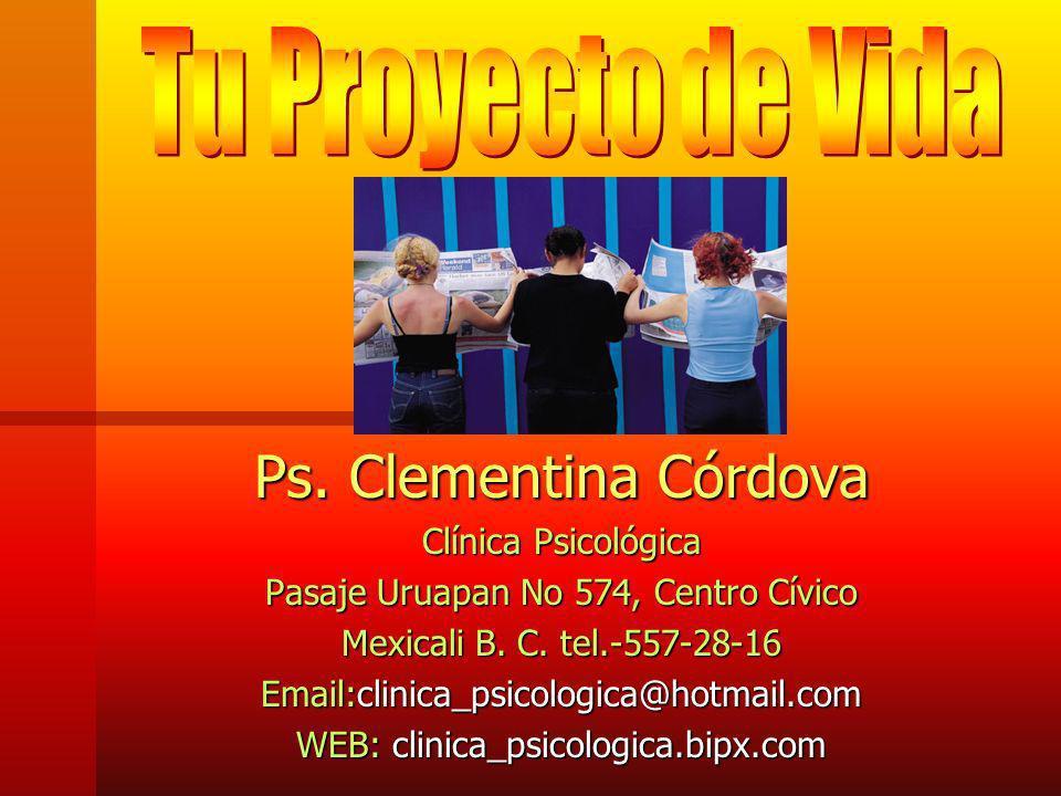 Ps. Clementina Córdova Tu Proyecto de Vida Clínica Psicológica