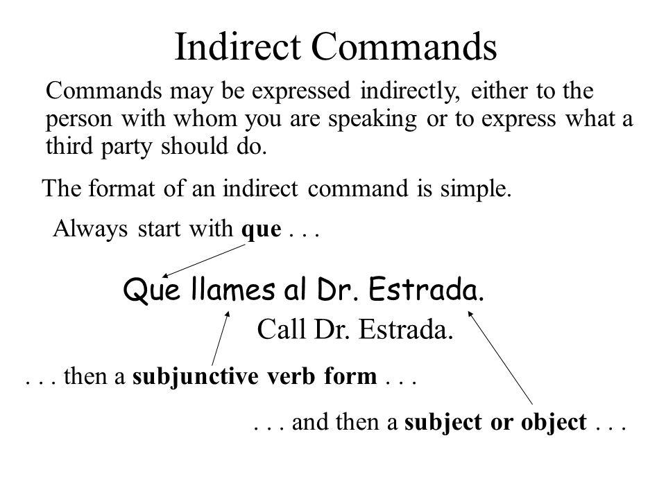 Indirect Commands Que llames al Dr. Estrada. Call Dr. Estrada.
