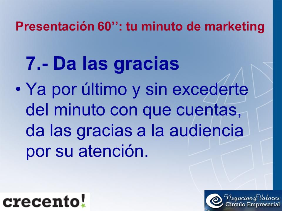 Presentación 60'': tu minuto de marketing