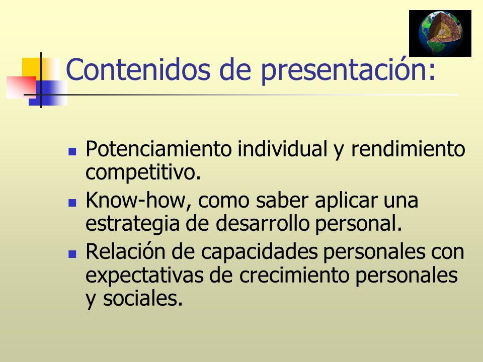 Contenidos de presentación:
