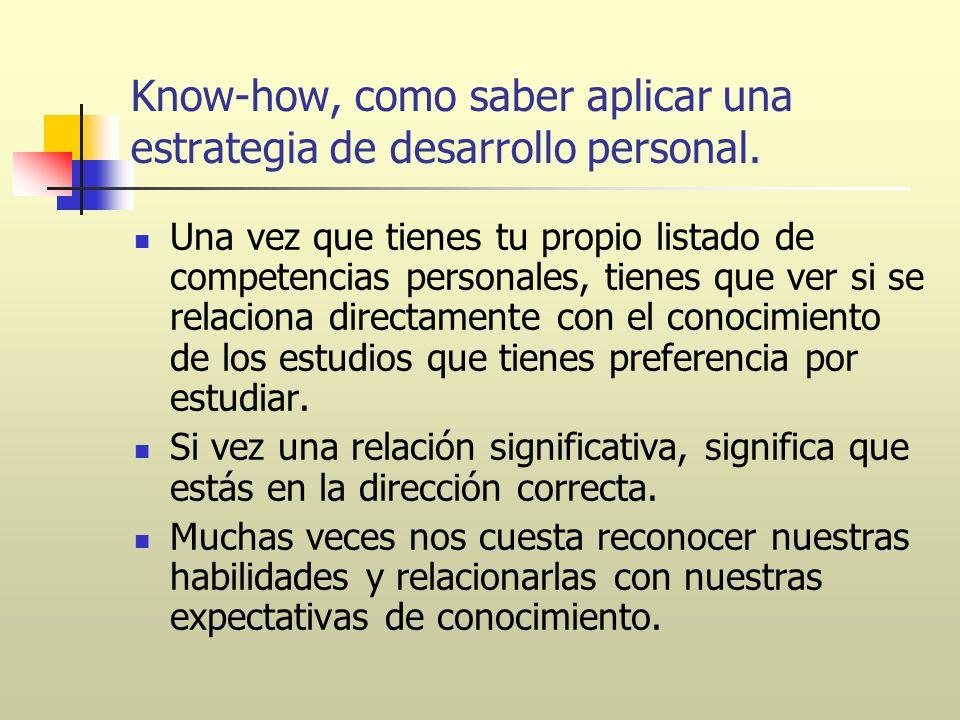 Know-how, como saber aplicar una estrategia de desarrollo personal.
