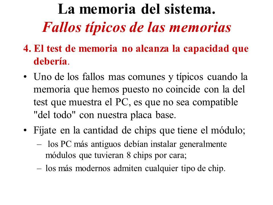 La memoria del sistema. Fallos típicos de las memorias