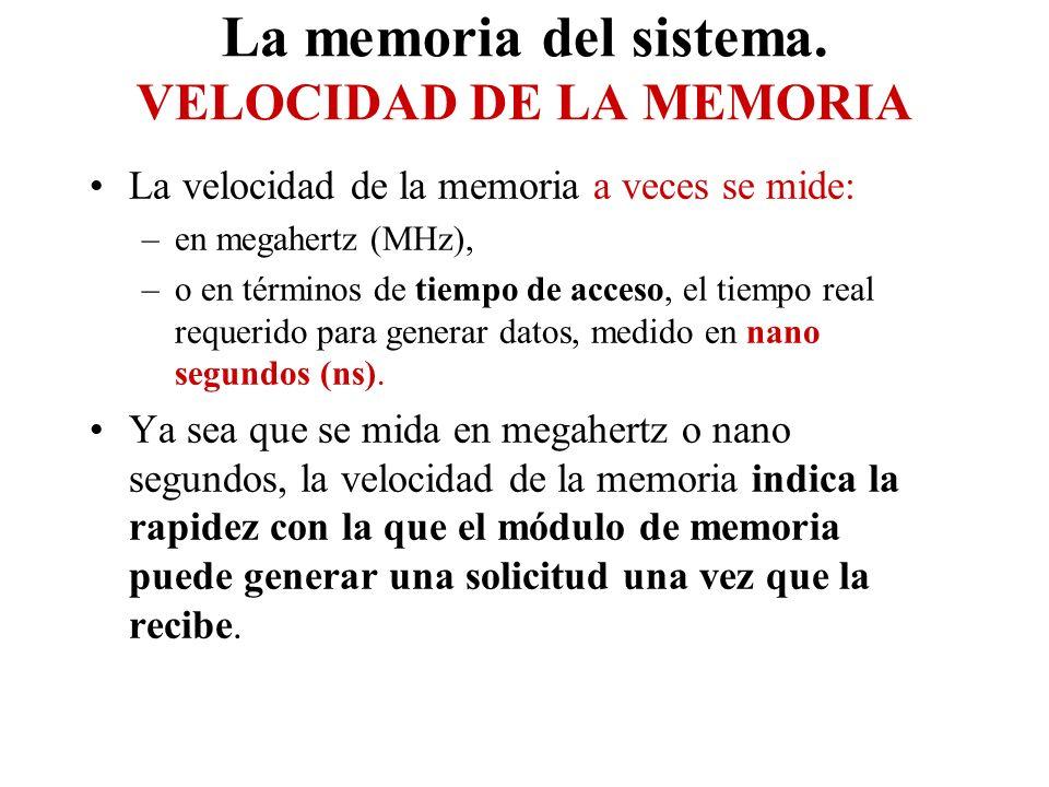 La memoria del sistema. VELOCIDAD DE LA MEMORIA