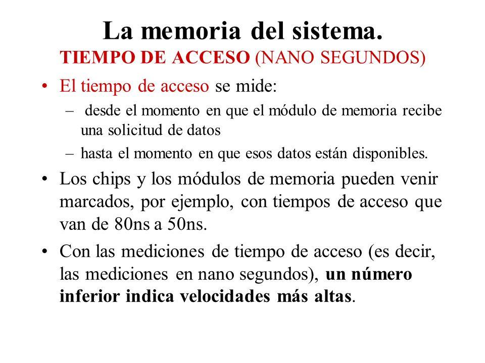 La memoria del sistema. TIEMPO DE ACCESO (NANO SEGUNDOS)