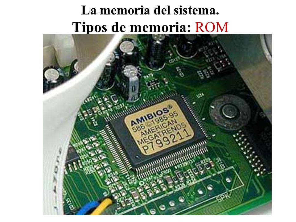 La memoria del sistema. Tipos de memoria: ROM