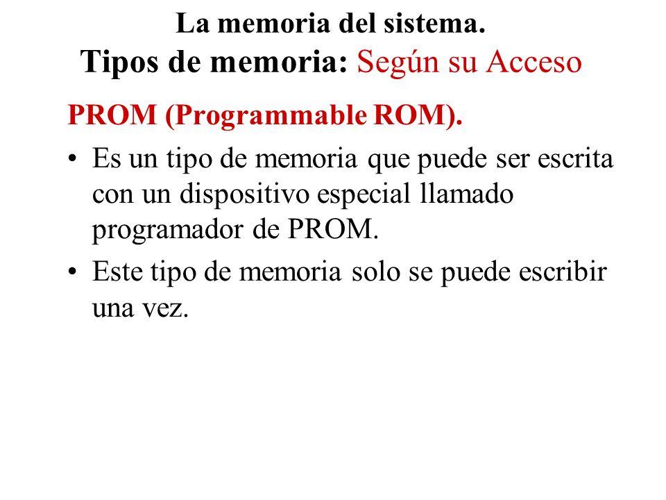 La memoria del sistema. Tipos de memoria: Según su Acceso