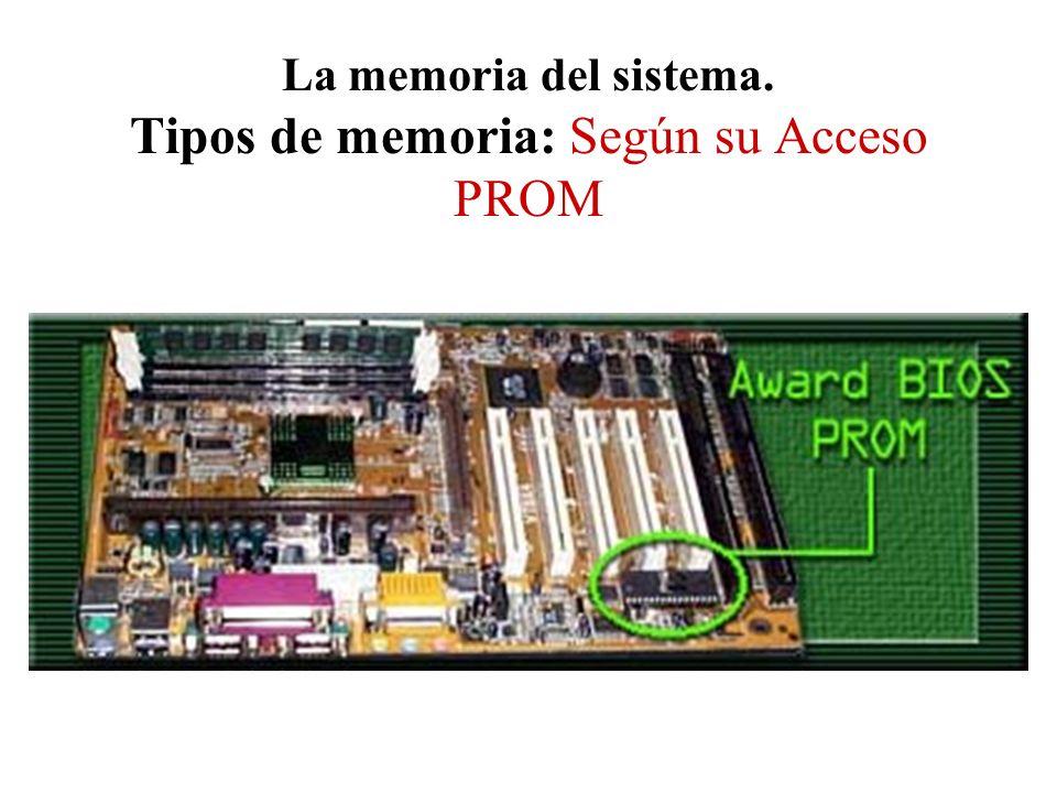 La memoria del sistema. Tipos de memoria: Según su Acceso PROM