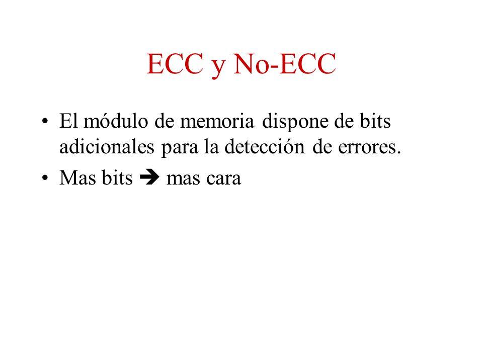ECC y No-ECC El módulo de memoria dispone de bits adicionales para la detección de errores.