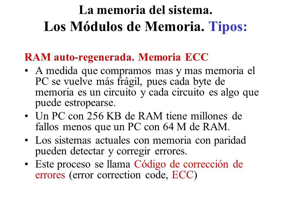 La memoria del sistema. Los Módulos de Memoria. Tipos: