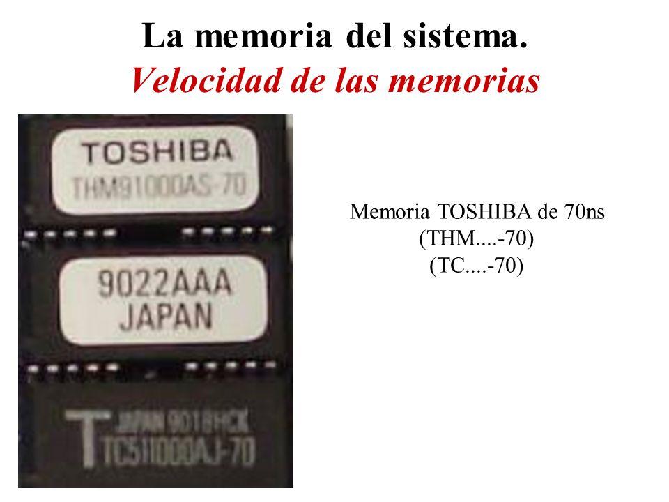 La memoria del sistema. Velocidad de las memorias