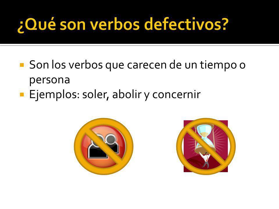 ¿Qué son verbos defectivos