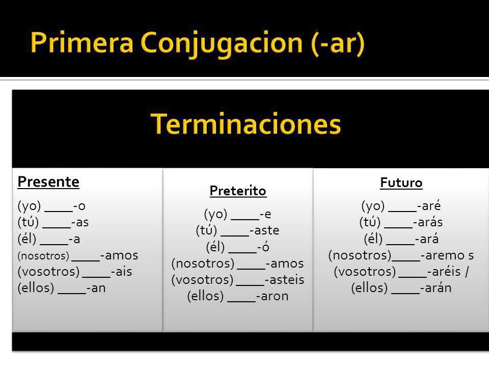 Primera Conjugacion (-ar)