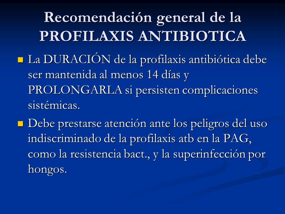 Recomendación general de la PROFILAXIS ANTIBIOTICA
