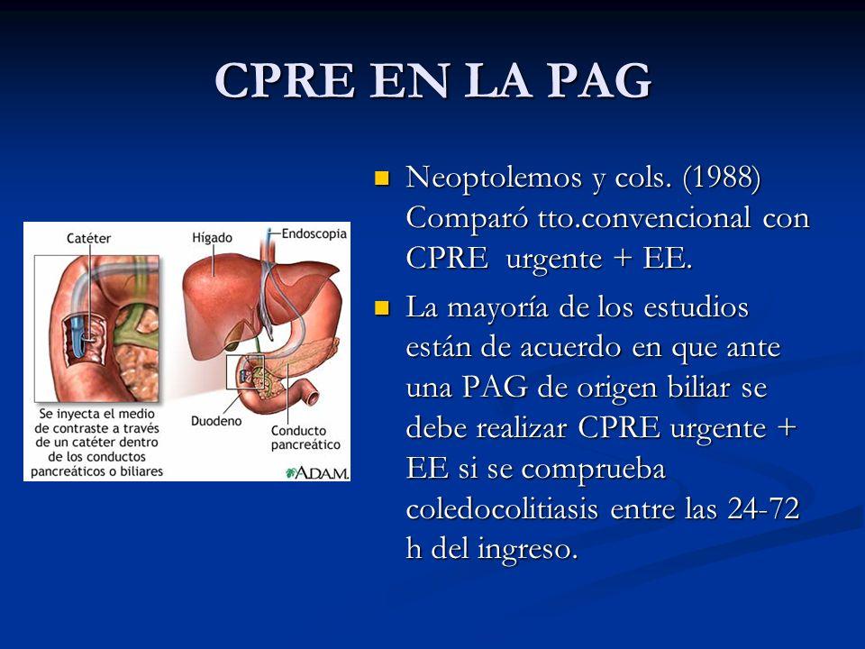 CPRE EN LA PAG Neoptolemos y cols. (1988) Comparó tto.convencional con CPRE urgente + EE.