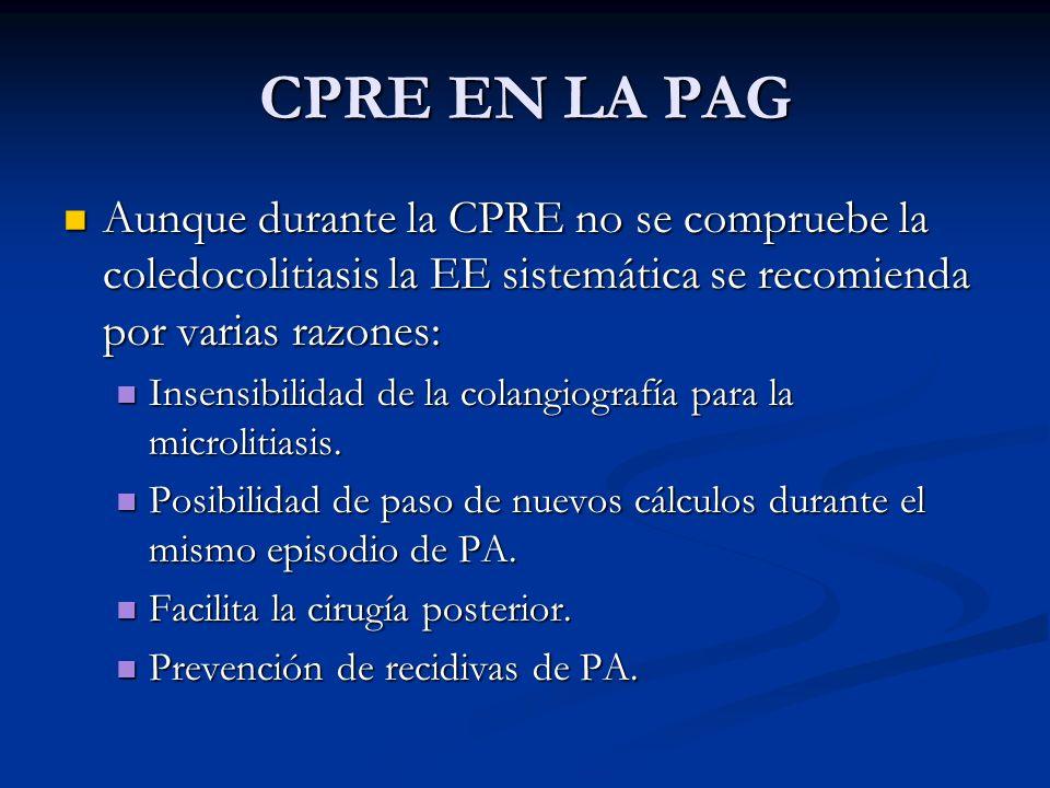 CPRE EN LA PAG Aunque durante la CPRE no se compruebe la coledocolitiasis la EE sistemática se recomienda por varias razones: