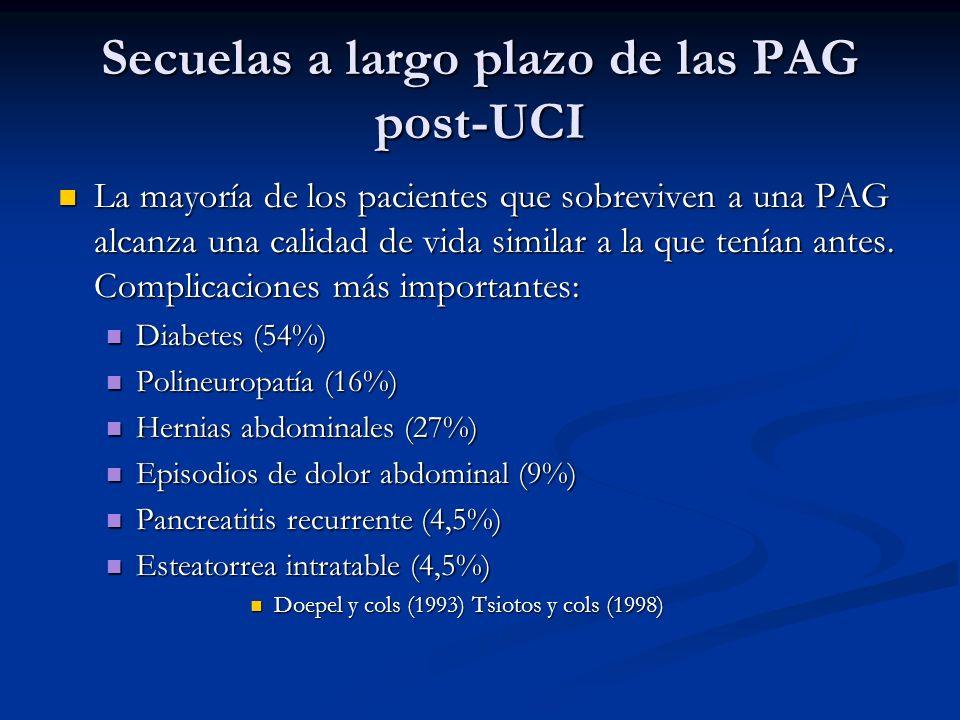 Secuelas a largo plazo de las PAG post-UCI