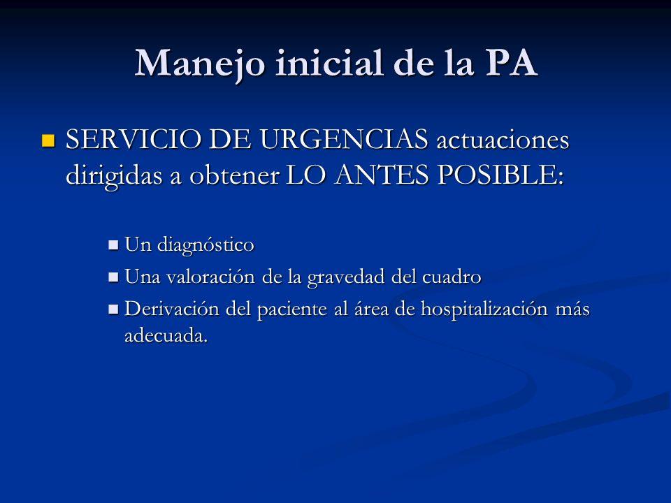 Manejo inicial de la PA SERVICIO DE URGENCIAS actuaciones dirigidas a obtener LO ANTES POSIBLE: Un diagnóstico.