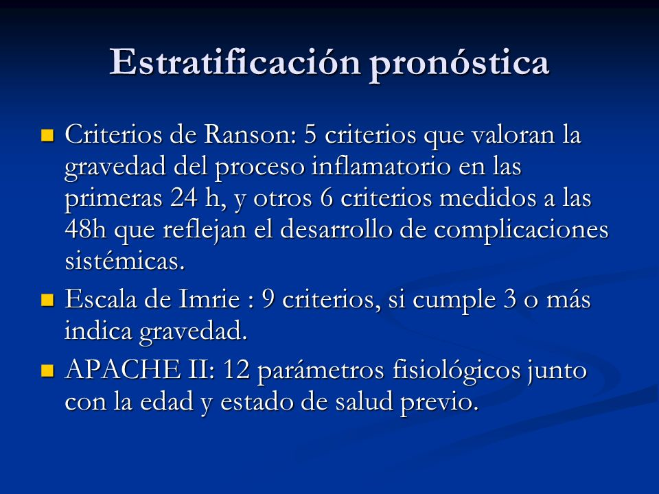 Estratificación pronóstica
