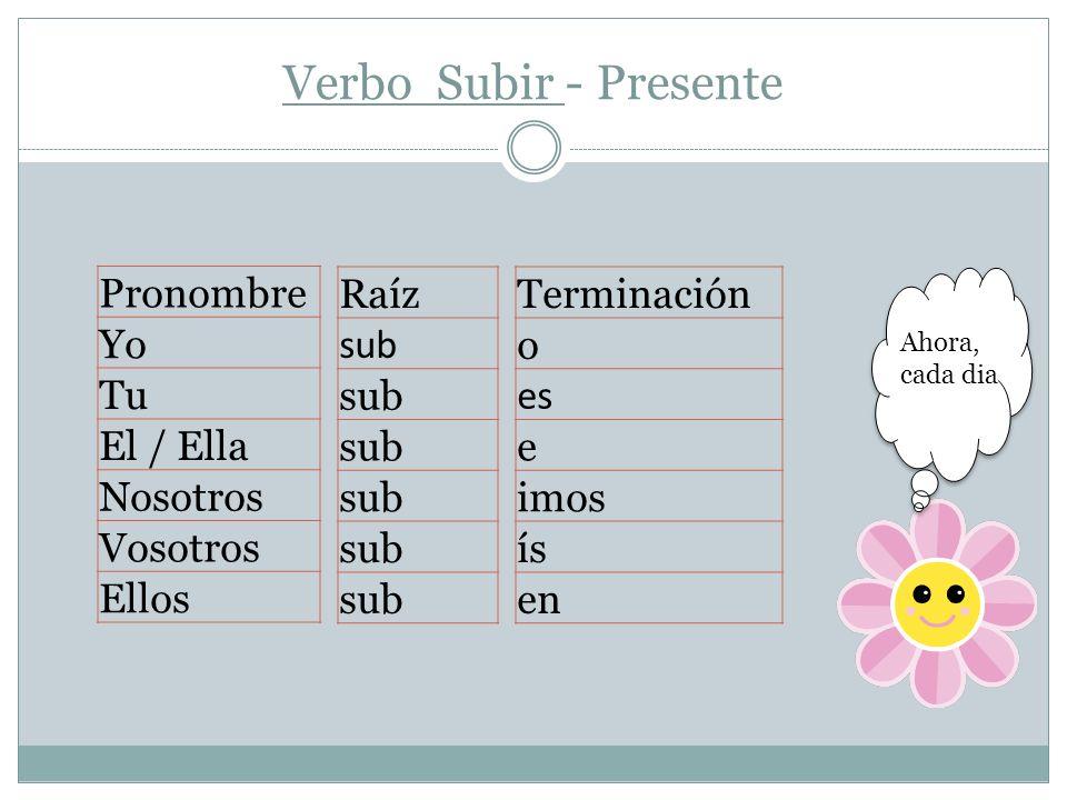 Verbo Subir - Presente Pronombre Yo Tu El / Ella Nosotros Vosotros