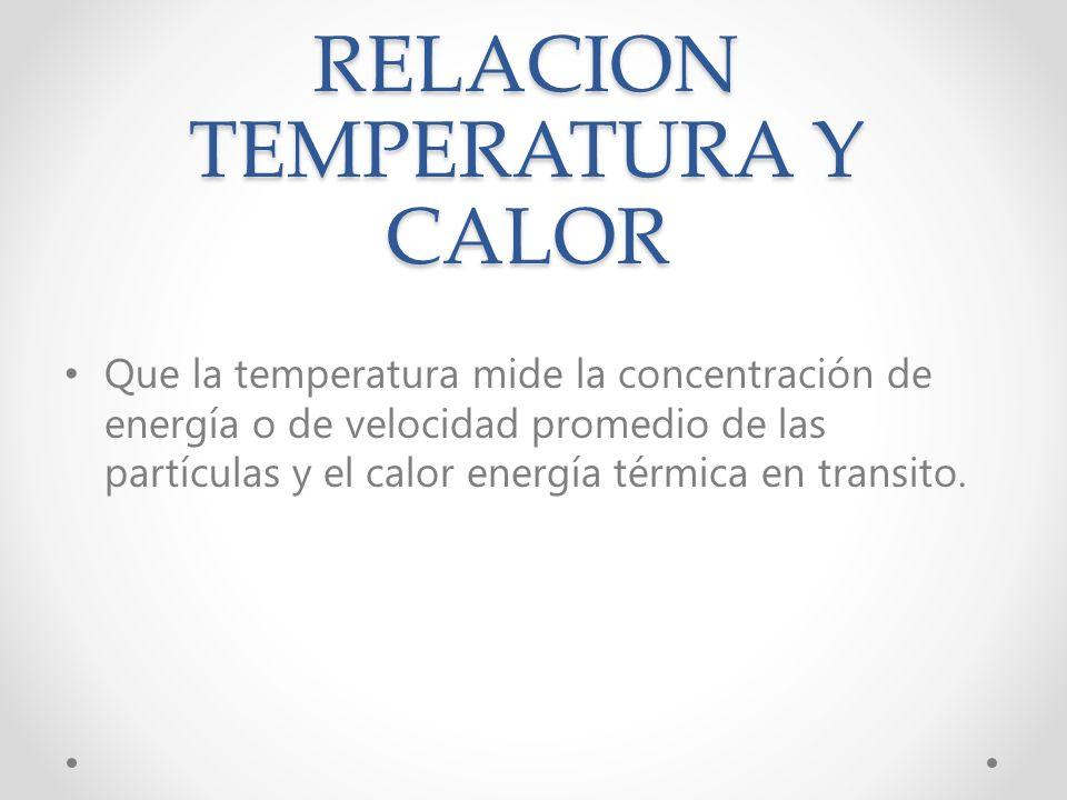 RELACION TEMPERATURA Y CALOR