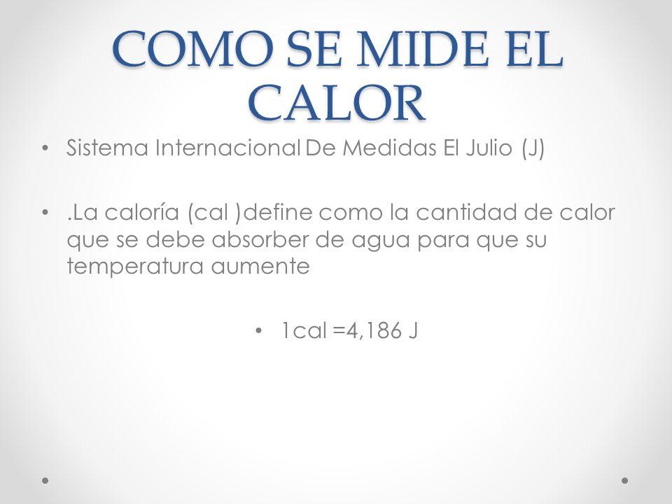COMO SE MIDE EL CALOR Sistema Internacional De Medidas El Julio (J)