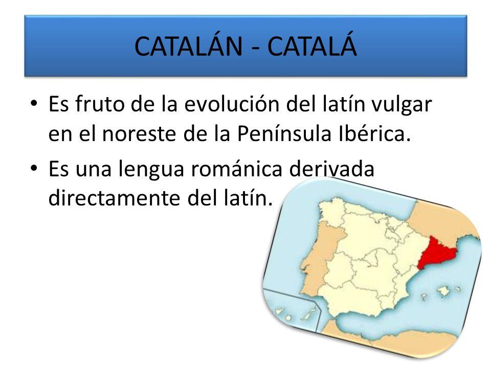 CATALÁN - CATALÁ Es fruto de la evolución del latín vulgar en el noreste de la Península Ibérica.