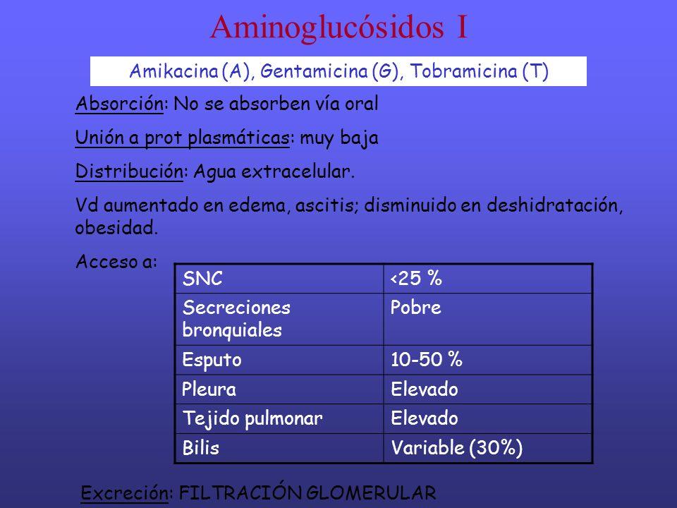 Amikacina (A), Gentamicina (G), Tobramicina (T)