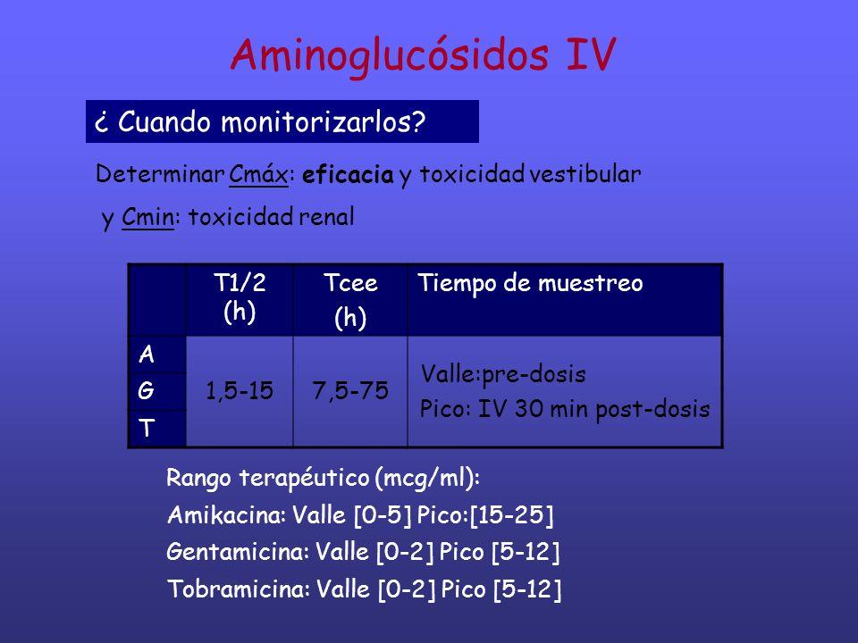 Aminoglucósidos IV ¿ Cuando monitorizarlos