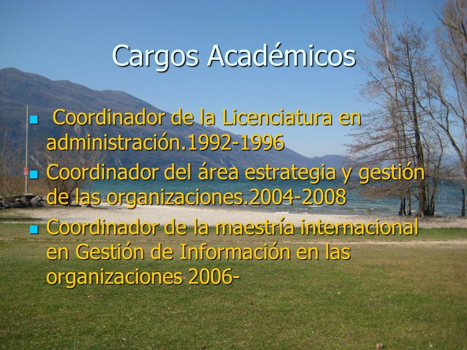 Cargos AcadémicosCoordinador de la Licenciatura en administración.1992-1996.