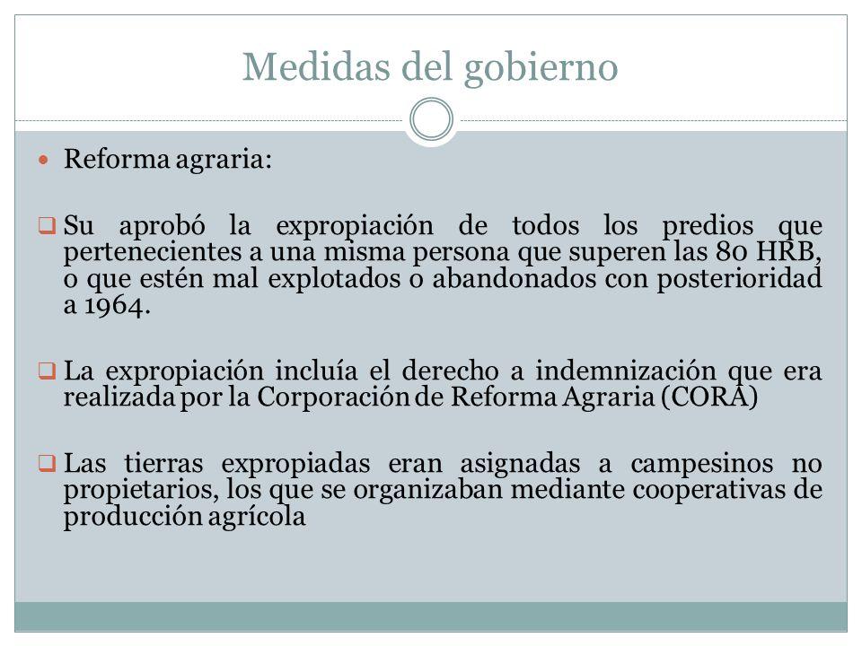 Medidas del gobierno Reforma agraria: