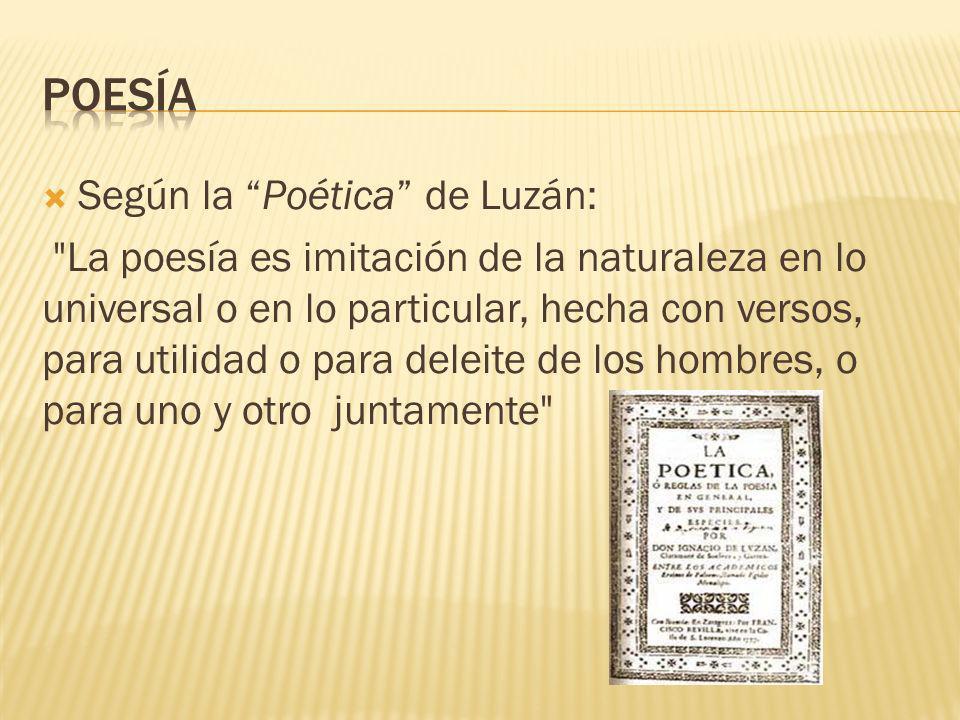 poesía Según la Poética de Luzán: