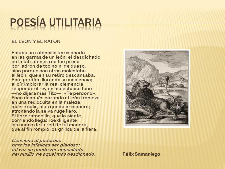 Poesía utilitaria EL LEÓN Y EL RATÓN