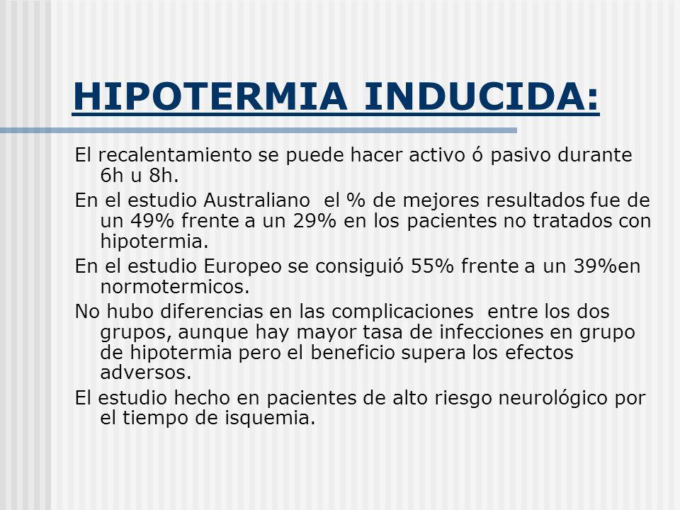 HIPOTERMIA INDUCIDA:El recalentamiento se puede hacer activo ó pasivo durante 6h u 8h.