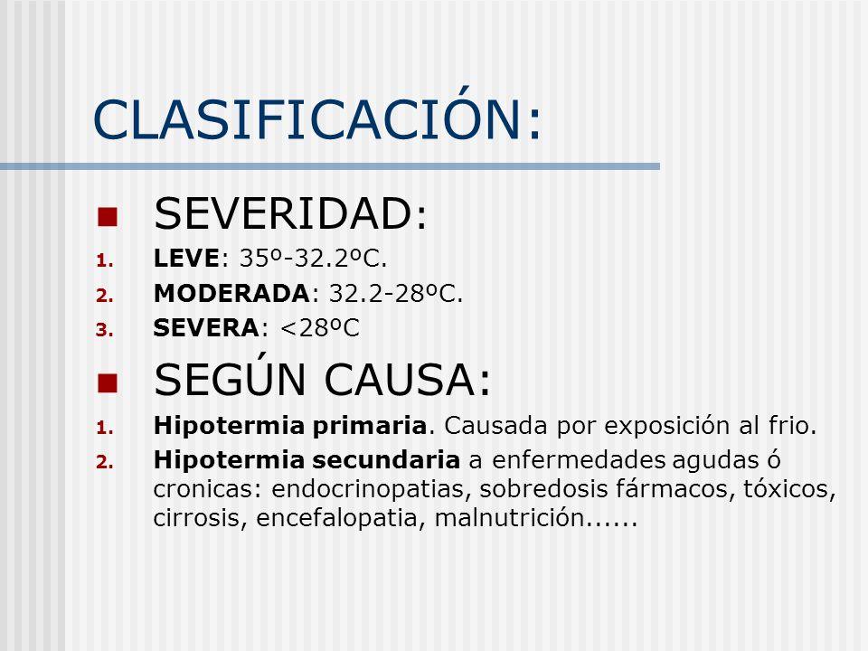 CLASIFICACIÓN: SEVERIDAD: SEGÚN CAUSA: LEVE: 35º-32.2ºC.