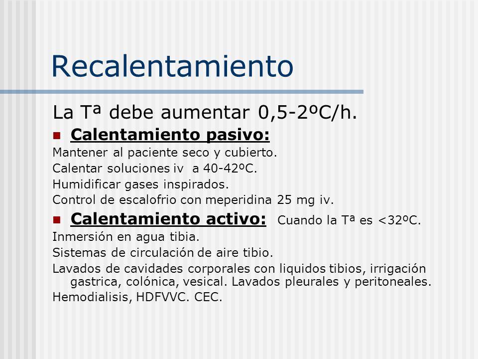 Recalentamiento La Tª debe aumentar 0,5-2ºC/h. Calentamiento pasivo: