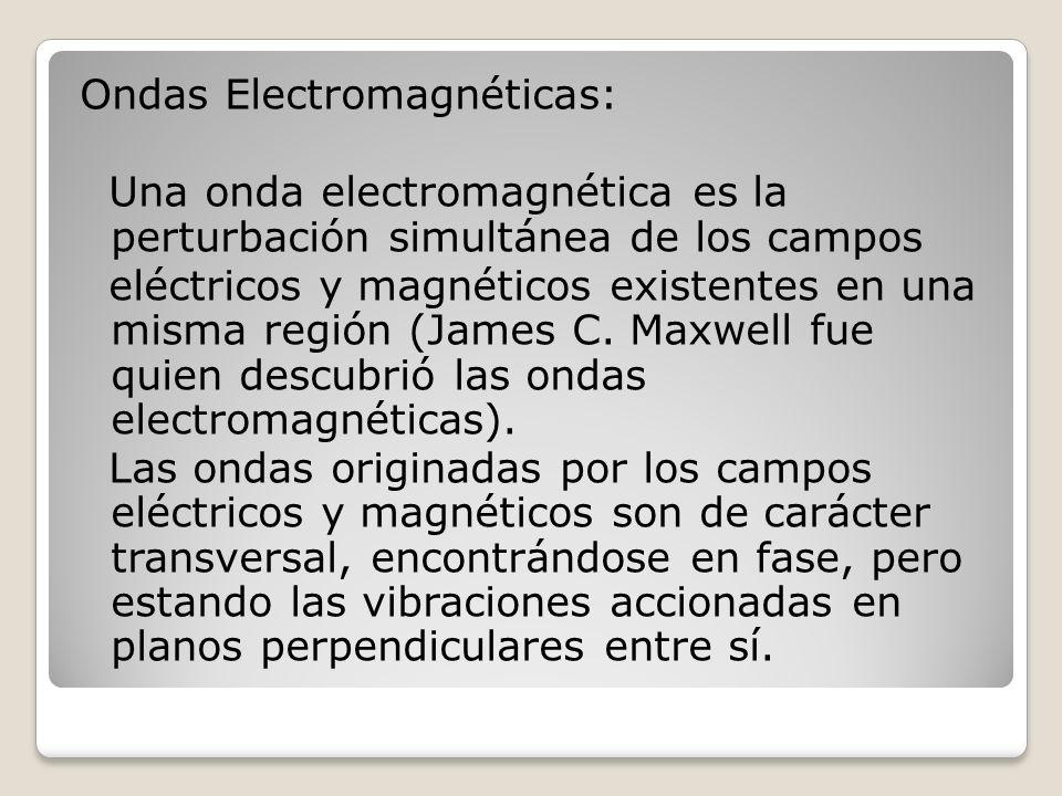 Ondas Electromagnéticas: Una onda electromagnética es la perturbación simultánea de los campos eléctricos y magnéticos existentes en una misma región (James C.