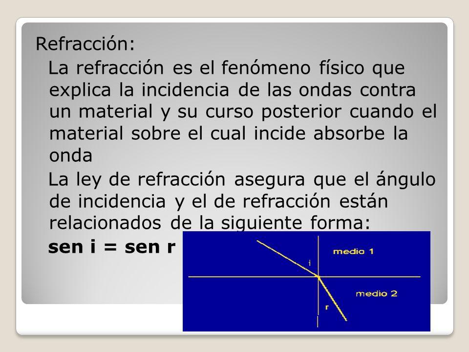 Refracción: La refracción es el fenómeno físico que explica la incidencia de las ondas contra un material y su curso posterior cuando el material sobre el cual incide absorbe la onda La ley de refracción asegura que el ángulo de incidencia y el de refracción están relacionados de la siguiente forma: sen i = sen r