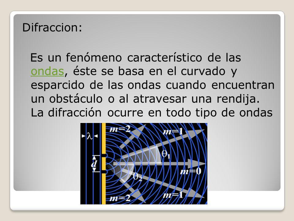 Difraccion: Es un fenómeno característico de las ondas, éste se basa en el curvado y esparcido de las ondas cuando encuentran un obstáculo o al atravesar una rendija.