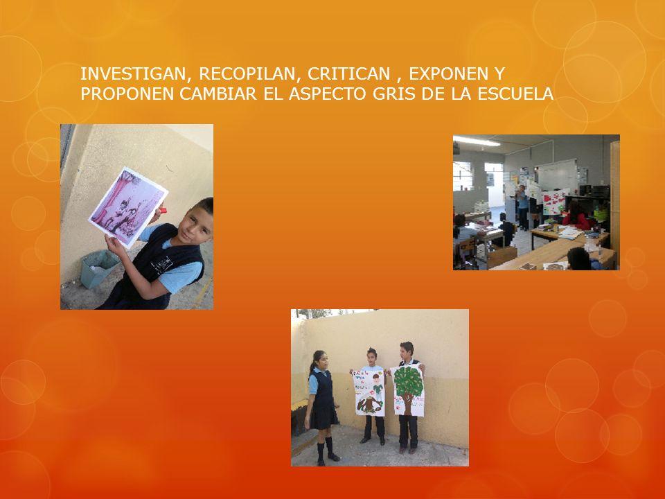 INVESTIGAN, RECOPILAN, CRITICAN , EXPONEN Y PROPONEN CAMBIAR EL ASPECTO GRIS DE LA ESCUELA