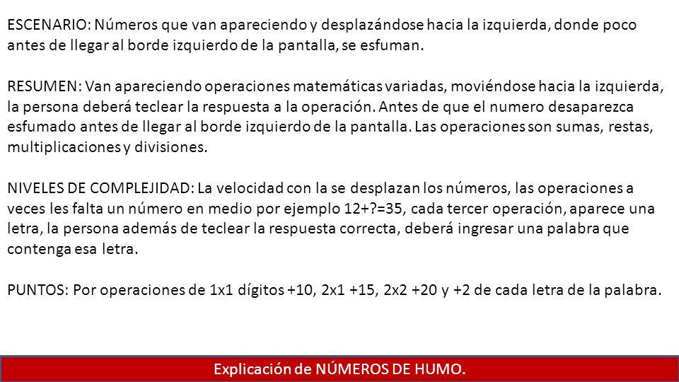 Explicación de NÚMEROS DE HUMO.