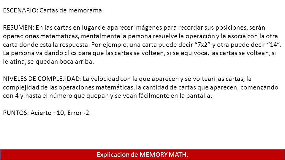 Explicación de MEMORY MATH.
