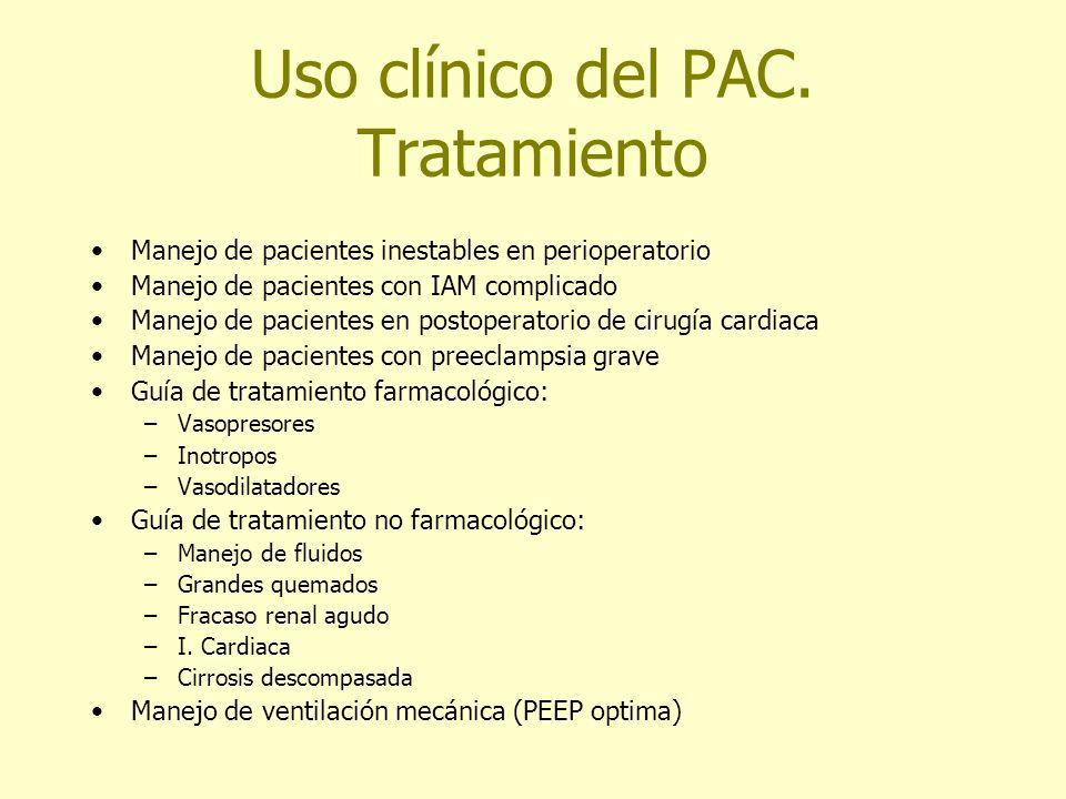 Uso clínico del PAC. Tratamiento