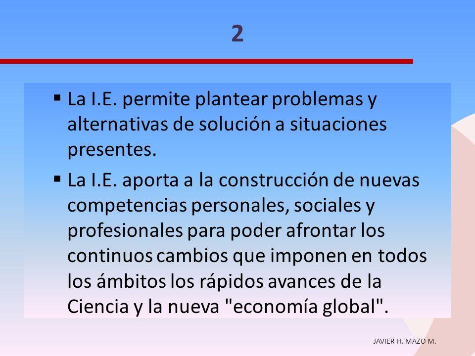 2 La I.E. permite plantear problemas y alternativas de solución a situaciones presentes.