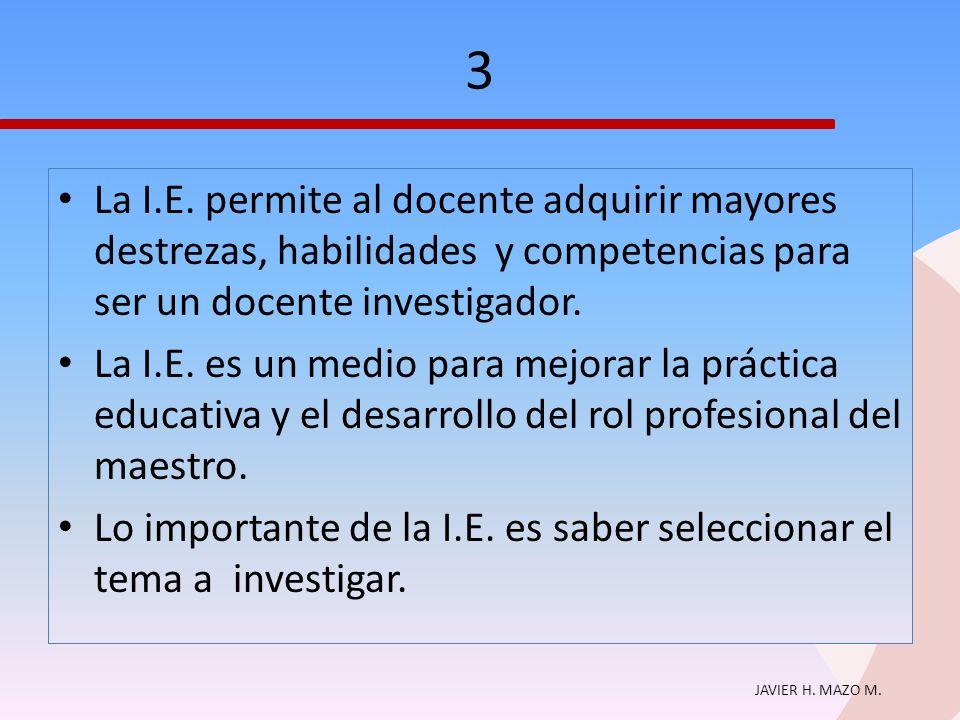 3 La I.E. permite al docente adquirir mayores destrezas, habilidades y competencias para ser un docente investigador.