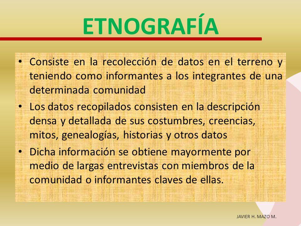 ETNOGRAFÍA Consiste en la recolección de datos en el terreno y teniendo como informantes a los integrantes de una determinada comunidad.