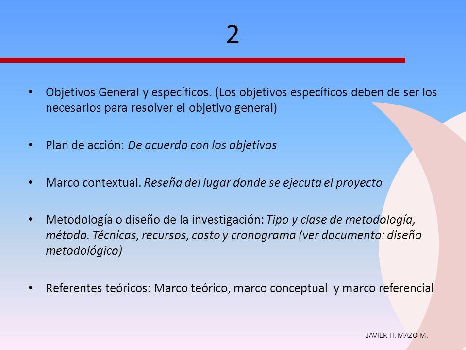 2 Objetivos General y específicos. (Los objetivos específicos deben de ser los necesarios para resolver el objetivo general)