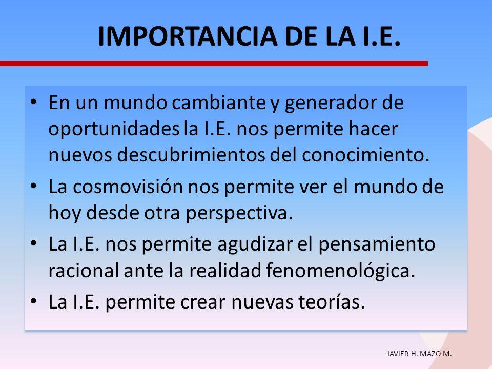 IMPORTANCIA DE LA I.E. En un mundo cambiante y generador de oportunidades la I.E. nos permite hacer nuevos descubrimientos del conocimiento.