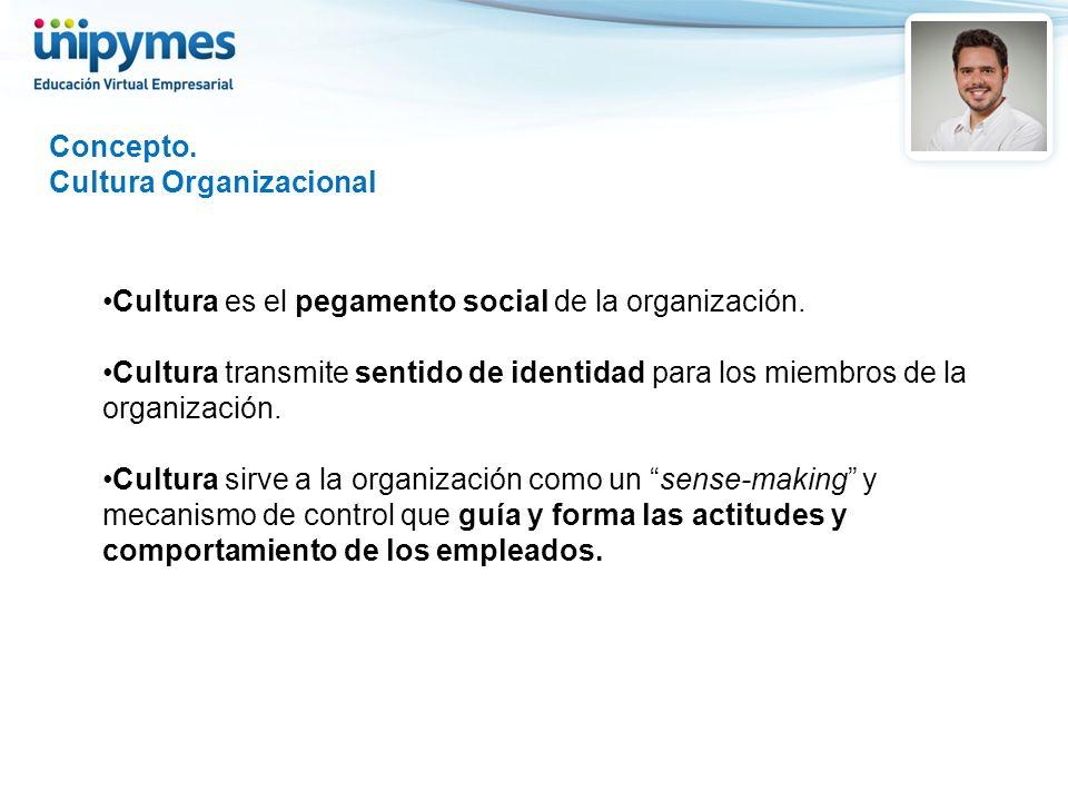 Concepto. Cultura Organizacional. Cultura es el pegamento social de la organización.